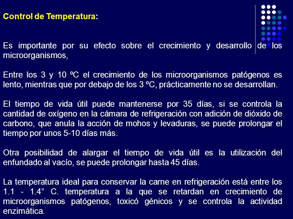 Control de Temperatura: Es importante por su efecto sobre el crecimiento y desarrollo de los microorganismos, Entre los 3 y 10 ºC el crecimiento de lo