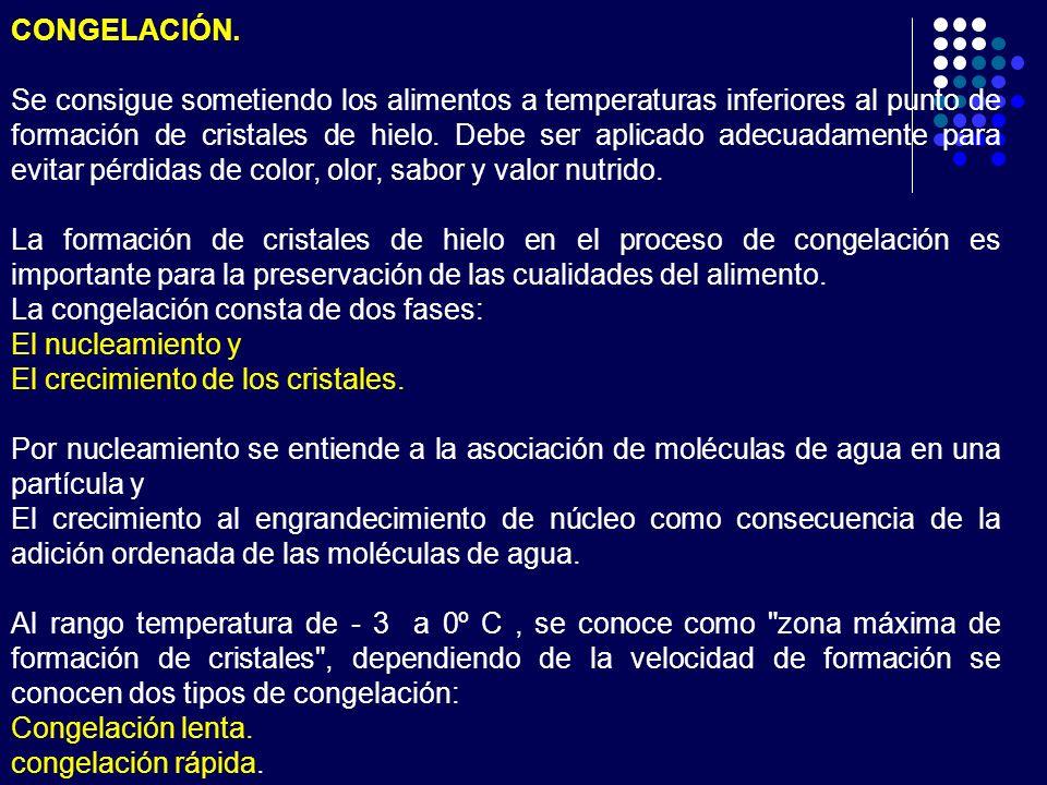 CONGELACIÓN. Se consigue sometiendo los alimentos a temperaturas inferiores al punto de formación de cristales de hielo. Debe ser aplicado adecuadamen