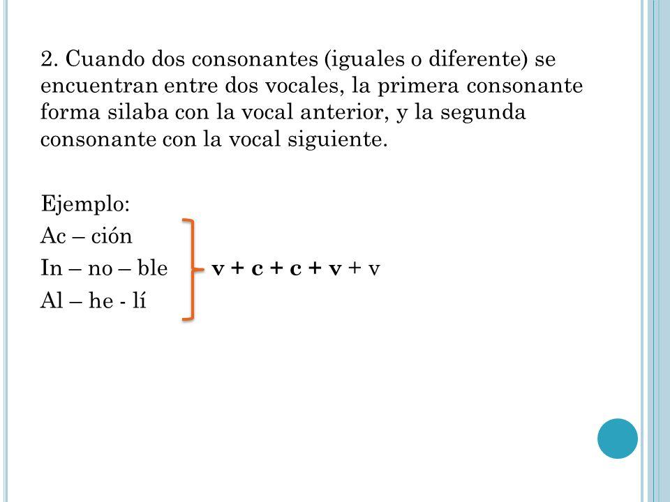 2. Cuando dos consonantes (iguales o diferente) se encuentran entre dos vocales, la primera consonante forma silaba con la vocal anterior, y la segund