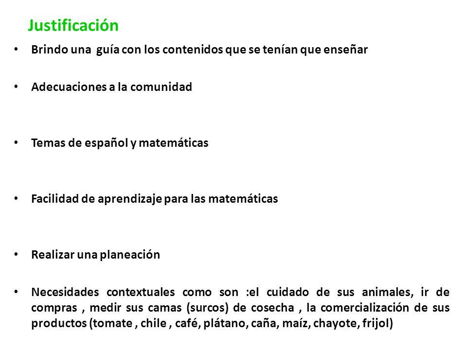 Justificación Brindo una guía con los contenidos que se tenían que enseñar Adecuaciones a la comunidad Temas de español y matemáticas Facilidad de apr
