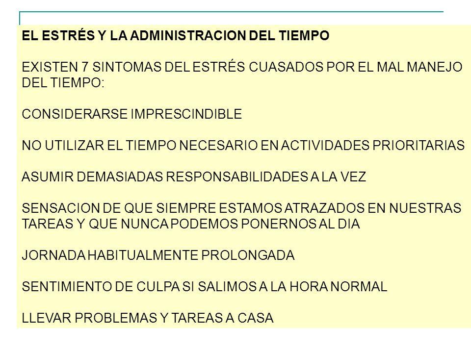 EL ESTRÉS Y LA ADMINISTRACION DEL TIEMPO EXISTEN 7 SINTOMAS DEL ESTRÉS CUASADOS POR EL MAL MANEJO DEL TIEMPO: CONSIDERARSE IMPRESCINDIBLE NO UTILIZAR EL TIEMPO NECESARIO EN ACTIVIDADES PRIORITARIAS ASUMIR DEMASIADAS RESPONSABILIDADES A LA VEZ SENSACION DE QUE SIEMPRE ESTAMOS ATRAZADOS EN NUESTRAS TAREAS Y QUE NUNCA PODEMOS PONERNOS AL DIA JORNADA HABITUALMENTE PROLONGADA SENTIMIENTO DE CULPA SI SALIMOS A LA HORA NORMAL LLEVAR PROBLEMAS Y TAREAS A CASA
