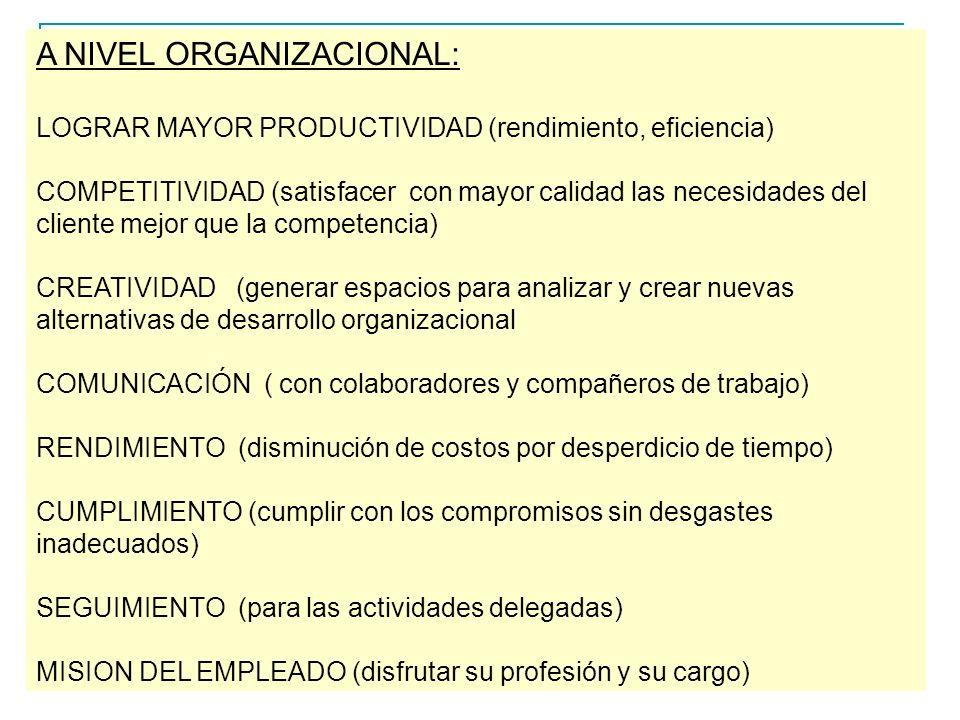A NIVEL ORGANIZACIONAL: LOGRAR MAYOR PRODUCTIVIDAD (rendimiento, eficiencia) COMPETITIVIDAD (satisfacer con mayor calidad las necesidades del cliente mejor que la competencia) CREATIVIDAD (generar espacios para analizar y crear nuevas alternativas de desarrollo organizacional COMUNICACIÓN ( con colaboradores y compañeros de trabajo) RENDIMIENTO (disminución de costos por desperdicio de tiempo) CUMPLIMIENTO (cumplir con los compromisos sin desgastes inadecuados) SEGUIMIENTO (para las actividades delegadas) MISION DEL EMPLEADO (disfrutar su profesión y su cargo)