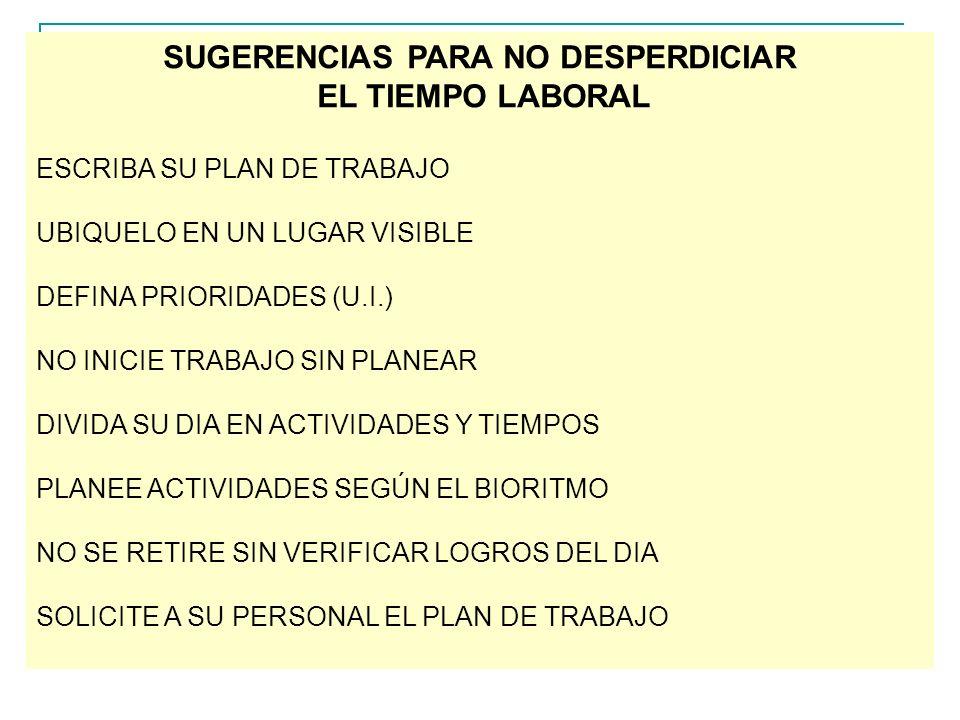 SUGERENCIAS PARA NO DESPERDICIAR EL TIEMPO LABORAL ESCRIBA SU PLAN DE TRABAJO UBIQUELO EN UN LUGAR VISIBLE DEFINA PRIORIDADES (U.I.) NO INICIE TRABAJO SIN PLANEAR DIVIDA SU DIA EN ACTIVIDADES Y TIEMPOS PLANEE ACTIVIDADES SEGÚN EL BIORITMO NO SE RETIRE SIN VERIFICAR LOGROS DEL DIA SOLICITE A SU PERSONAL EL PLAN DE TRABAJO