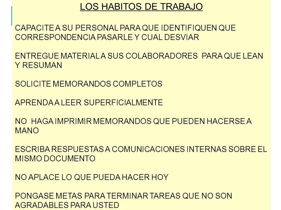 LOS HABITOS DE TRABAJO CAPACITE A SU PERSONAL PARA QUE IDENTIFIQUEN QUE CORRESPONDENCIA PASARLE Y CUAL DESVIAR ENTREGUE MATERIAL A SUS COLABORADORES PARA QUE LEAN Y RESUMAN SOLICITE MEMORANDOS COMPLETOS APRENDA A LEER SUPERFICIALMENTE NO HAGA IMPRIMIR MEMORANDOS QUE PUEDEN HACERSE A MANO ESCRIBA RESPUESTAS A COMUNICACIONES INTERNAS SOBRE EL MISMO DOCUMENTO NO APLACE LO QUE PUEDA HACER HOY PONGASE METAS PARA TERMINAR TAREAS QUE NO SON AGRADABLES PARA USTED