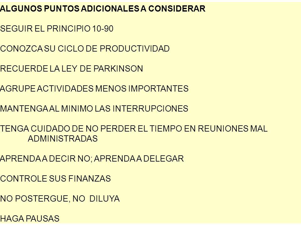 ALGUNOS PUNTOS ADICIONALES A CONSIDERAR SEGUIR EL PRINCIPIO 10-90 CONOZCA SU CICLO DE PRODUCTIVIDAD RECUERDE LA LEY DE PARKINSON AGRUPE ACTIVIDADES MENOS IMPORTANTES MANTENGA AL MINIMO LAS INTERRUPCIONES TENGA CUIDADO DE NO PERDER EL TIEMPO EN REUNIONES MAL ADMINISTRADAS APRENDA A DECIR NO; APRENDA A DELEGAR CONTROLE SUS FINANZAS NO POSTERGUE, NO DILUYA HAGA PAUSAS