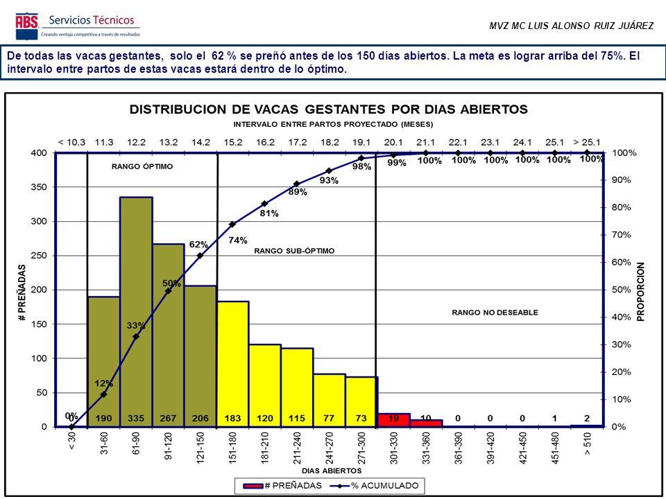 MVZ MC LUIS ALONSO RUIZ JUÁREZ De todas las vacas gestantes, solo el 62 % se preñó antes de los 150 días abiertos. La meta es lograr arriba del 75%. E