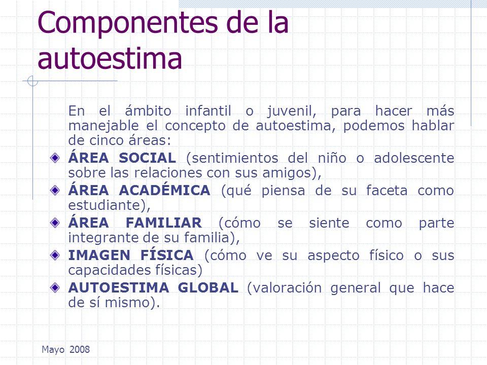 Mayo 2008 Componentes de la autoestima En el ámbito infantil o juvenil, para hacer más manejable el concepto de autoestima, podemos hablar de cinco ár