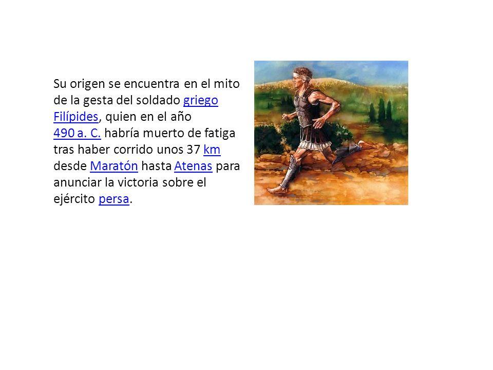 En honor a este se creó una competición con el nombre de maratón , que fue incluida en los juegos de 1896 de Atenas inaugurados por el Barón Pierre de Coubertin.1896 Barón Pierre de Coubertin