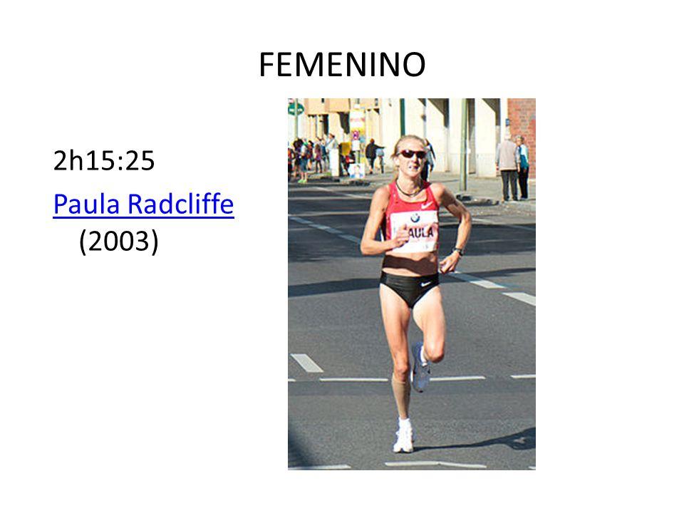 FEMENINO 2h15:25 Paula Radcliffe Paula Radcliffe (2003)