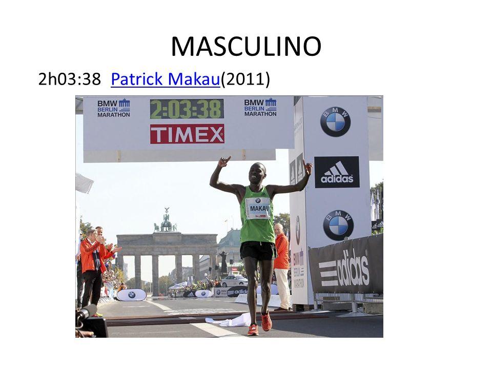 MASCULINO 2h03:38 Patrick Makau(2011)Patrick Makau
