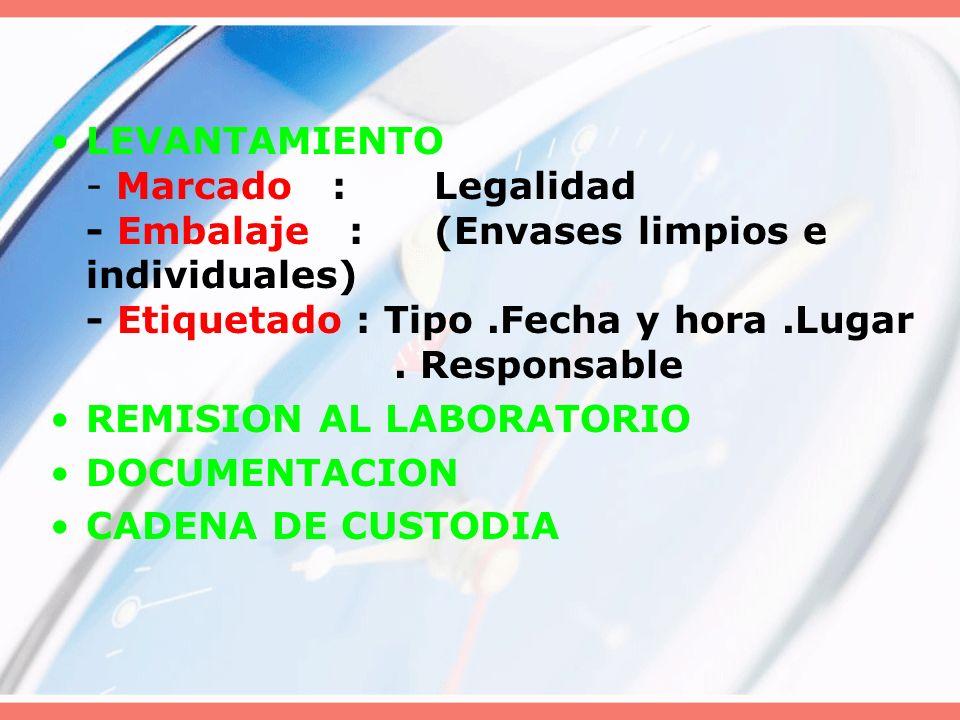 LEVANTAMIENTO - Marcado :Legalidad - Embalaje :(Envases limpios e individuales) - Etiquetado : Tipo.Fecha y hora.Lugar. Responsable REMISION AL LABORA