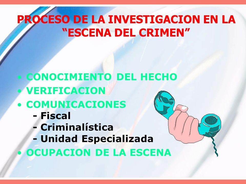 PROCESO DE LA INVESTIGACION EN LA ESCENA DEL CRIMEN CONOCIMIENTO DEL HECHO VERIFICACION COMUNICACIONES - Fiscal - Criminalística - Unidad Especializad