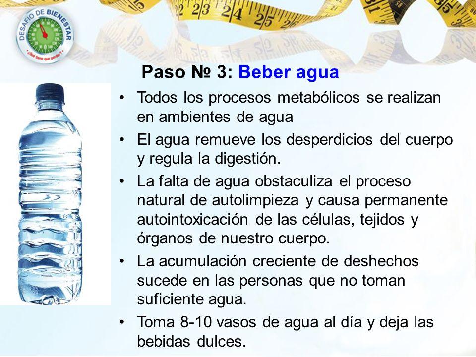 Paso 3: Beber agua Todos los procesos metabólicos se realizan en ambientes de agua El agua remueve los desperdicios del cuerpo y regula la digestión.