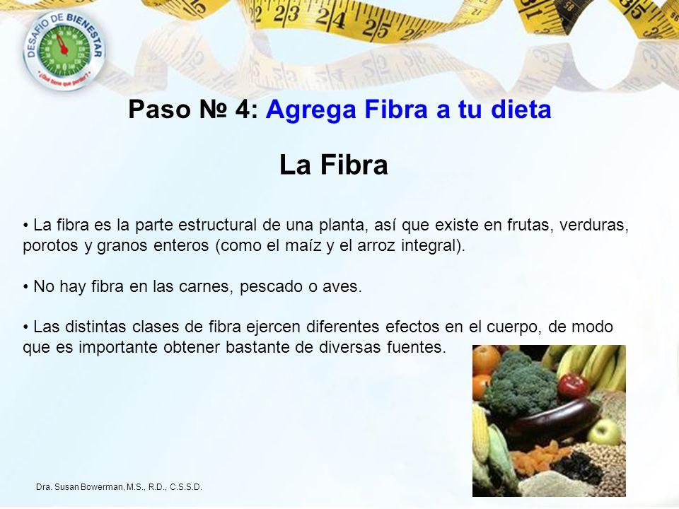 La Fibra La fibra es la parte estructural de una planta, así que existe en frutas, verduras, porotos y granos enteros (como el maíz y el arroz integra