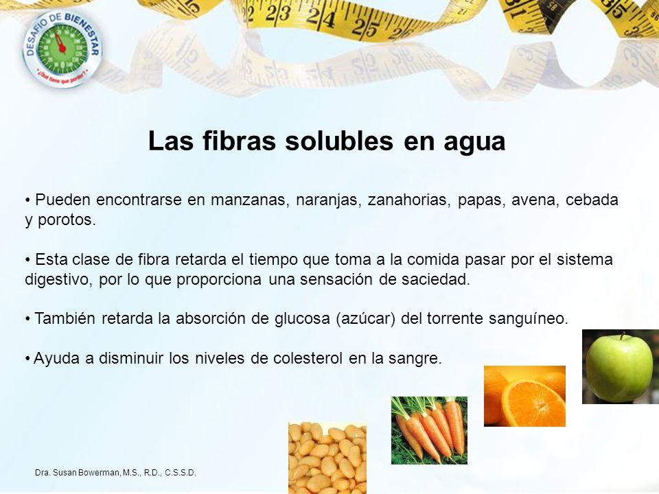 Las fibras solubles en agua Pueden encontrarse en manzanas, naranjas, zanahorias, papas, avena, cebada y porotos. Esta clase de fibra retarda el tiemp