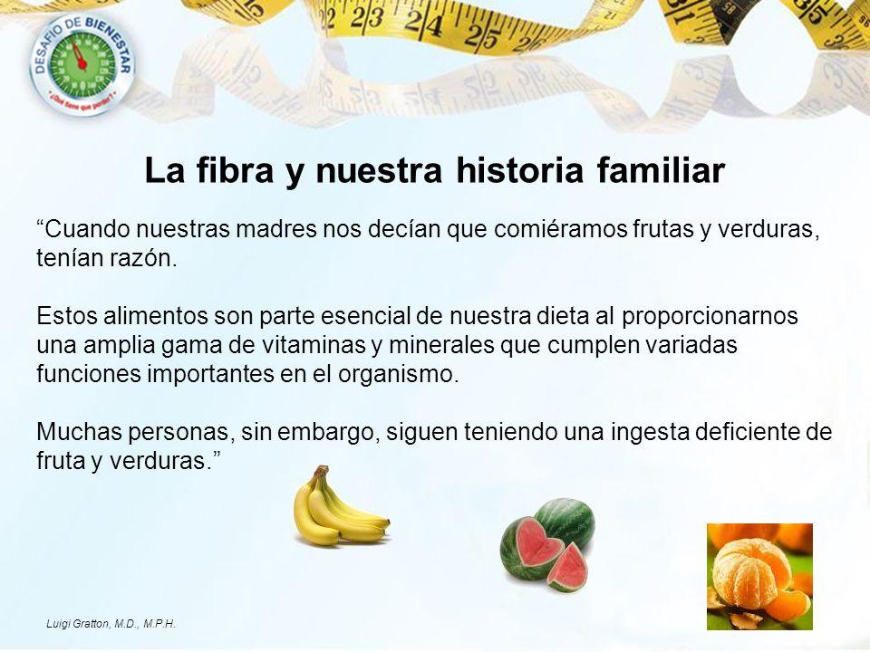 La fibra y nuestra historia familiar Cuando nuestras madres nos decían que comiéramos frutas y verduras, tenían razón. Estos alimentos son parte esenc