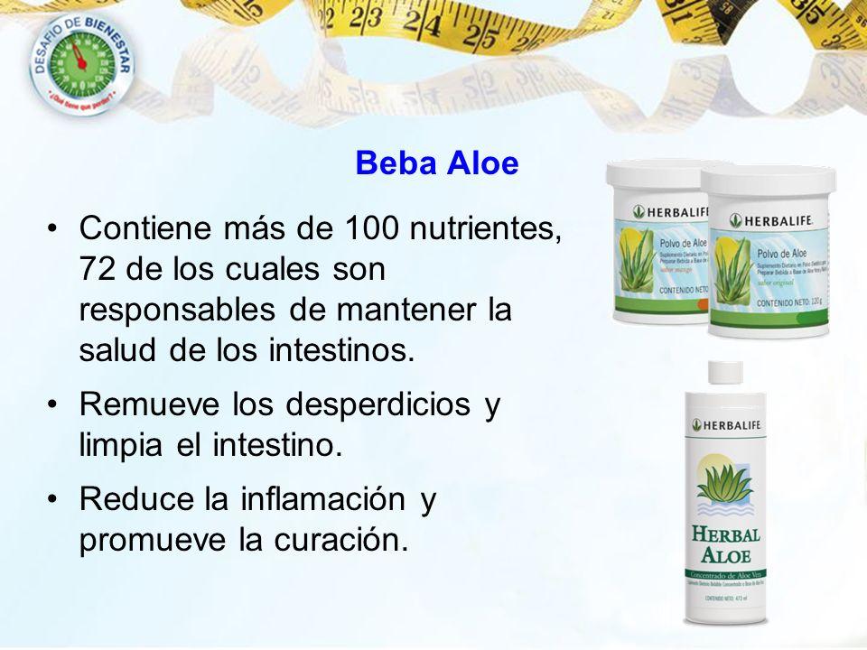 Beba Aloe Contiene más de 100 nutrientes, 72 de los cuales son responsables de mantener la salud de los intestinos. Remueve los desperdicios y limpia