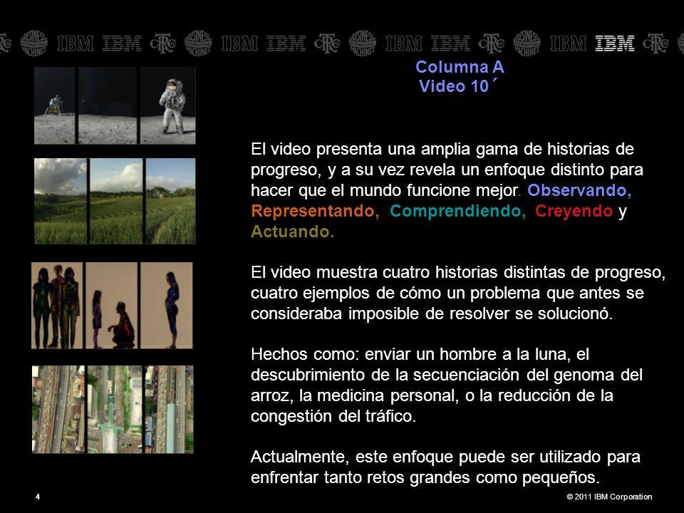 © 2011 IBM Corporation44 Columna A Video 10´ El video presenta una amplia gama de historias de progreso, y a su vez revela un enfoque distinto para hacer que el mundo funcione mejor.