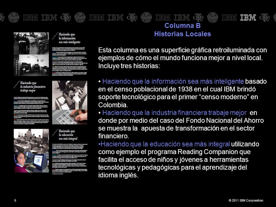© 2011 IBM Corporation5 Columna B Historias Locales Esta columna es una superficie gráfica retroiluminada con ejemplos de cómo el mundo funciona mejor
