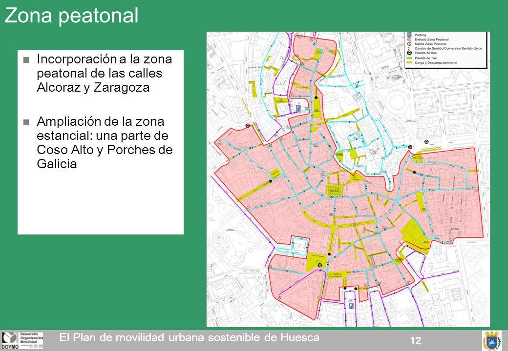 12 Zona peatonal El Plan de movilidad urbana sostenible de Huesca Incorporación a la zona peatonal de las calles Alcoraz y Zaragoza Ampliación de la z
