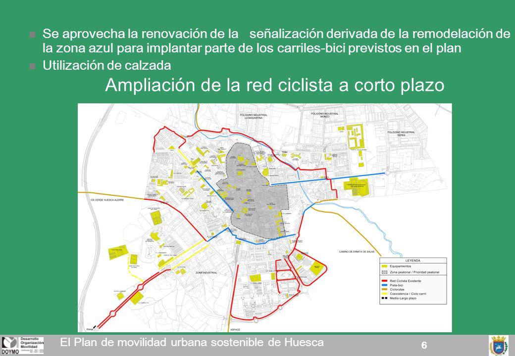 6 Ampliación de la red ciclista a corto plazo El Plan de movilidad urbana sostenible de Huesca Se aprovecha la renovación de la señalización derivada