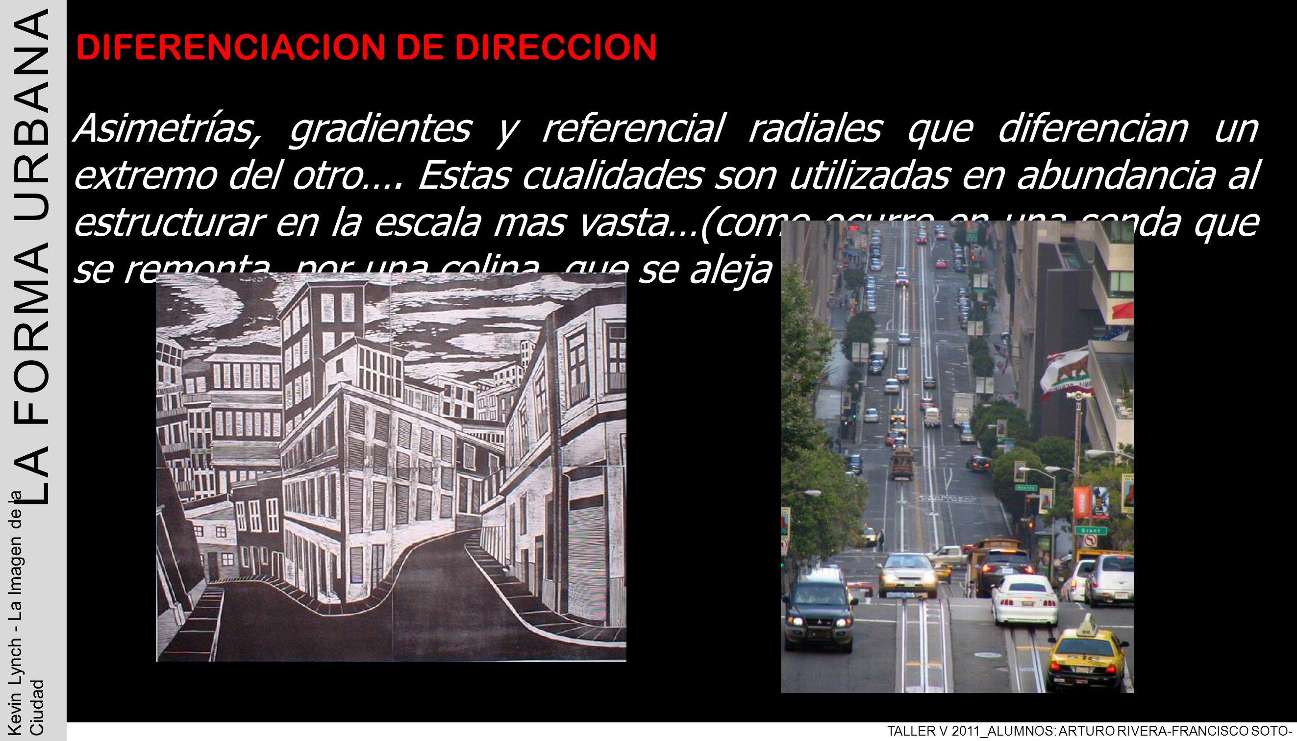 LA FORMA URBANA TALLER V 2011_ALUMNOS: ARTURO RIVERA-FRANCISCO SOTO- PABLO ARAVENA Kevin Lynch - La Imagen de la Ciudad DIFERENCIACION DE DIRECCION As