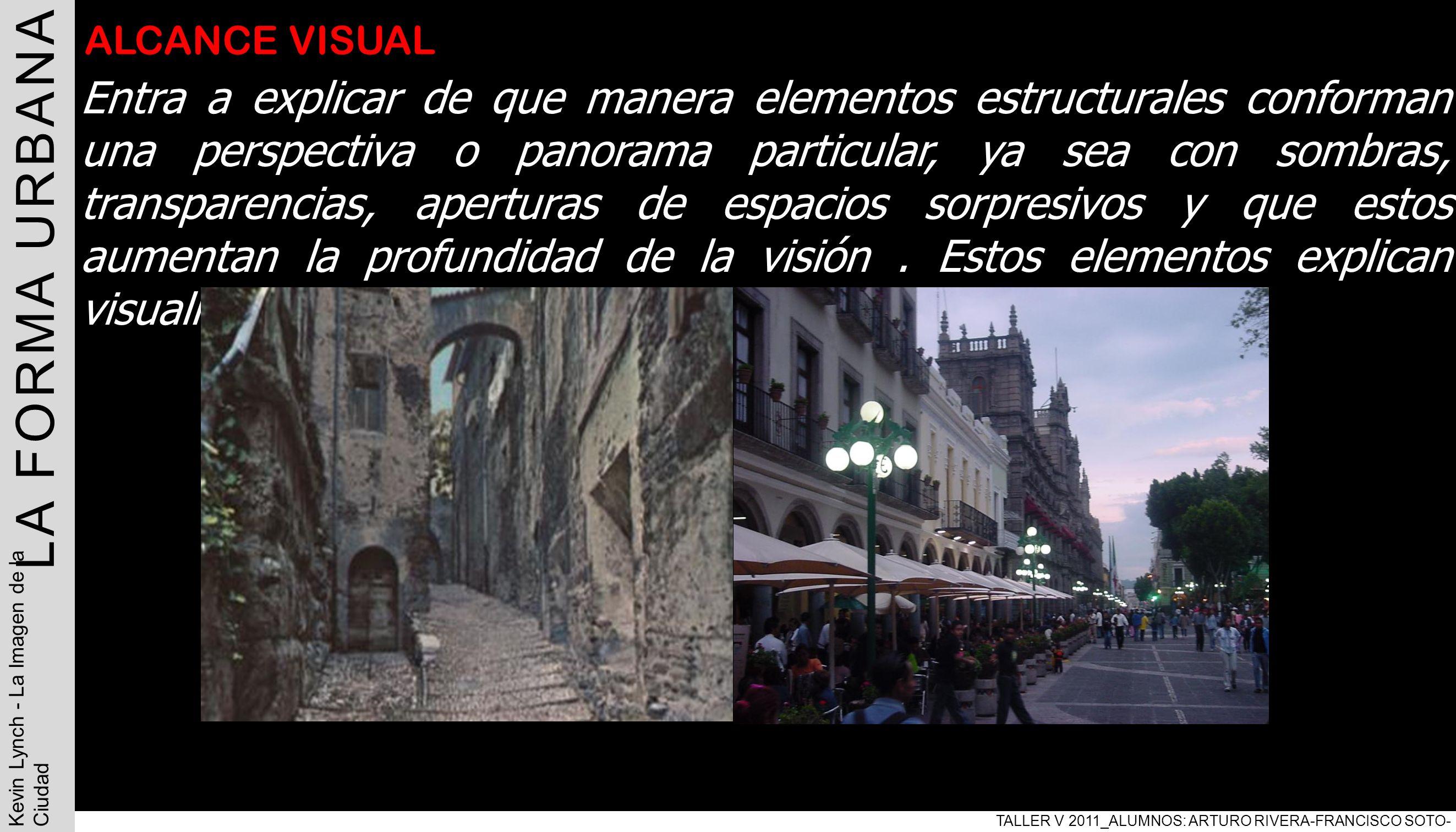 con LA FORMA URBANA TALLER V 2011_ALUMNOS: ARTURO RIVERA-FRANCISCO SOTO- PABLO ARAVENA Kevin Lynch - La Imagen de la Ciudad ALCANCE VISUAL Entra a exp
