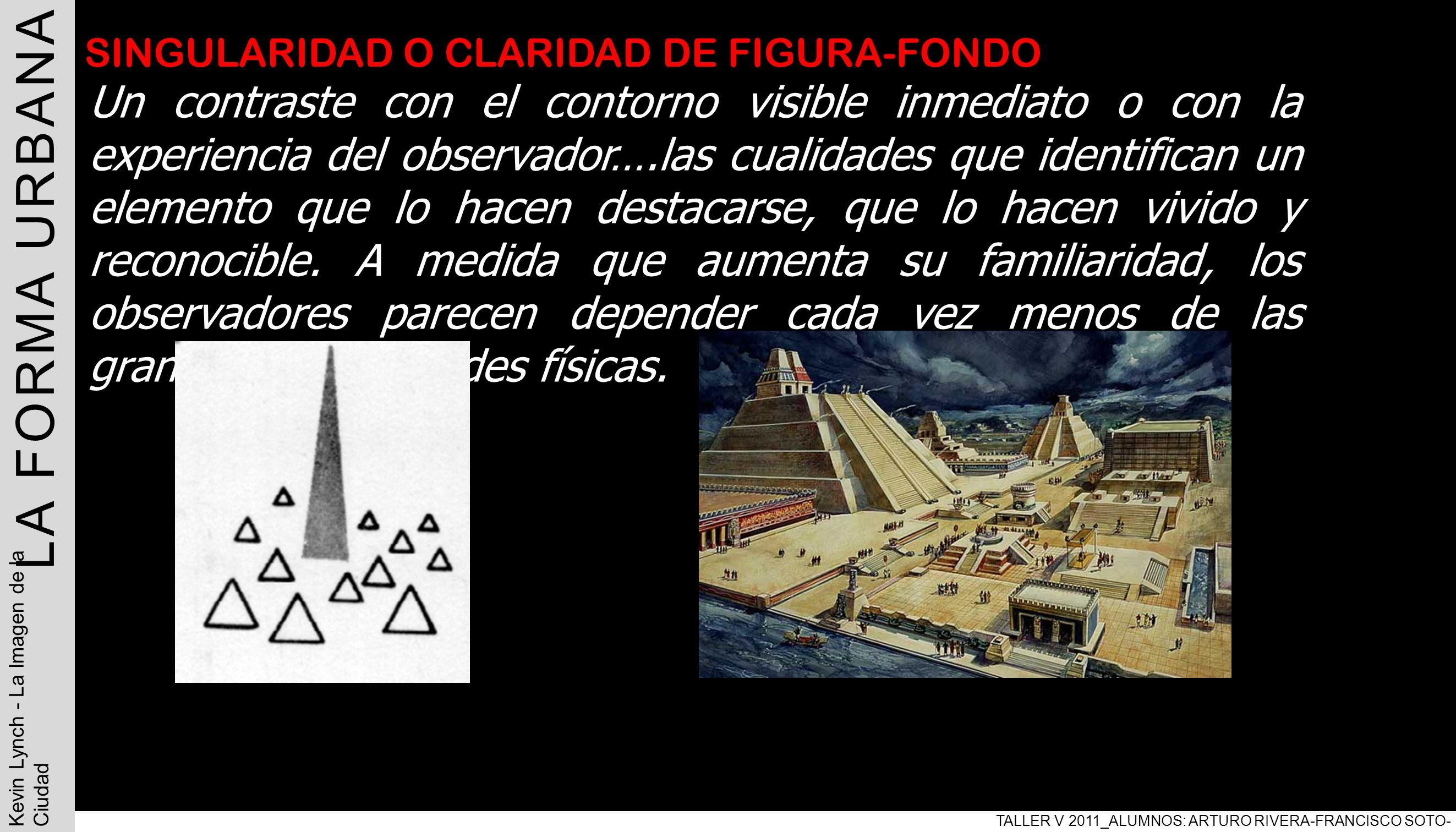 LA FORMA URBANA TALLER V 2011_ALUMNOS: ARTURO RIVERA-FRANCISCO SOTO- PABLO ARAVENA Kevin Lynch - La Imagen de la Ciudad SINGULARIDAD O CLARIDAD DE FIG