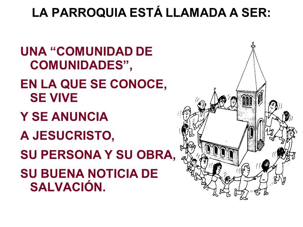 LA PARROQUIA ESTÁ LLAMADA A SER: UNA COMUNIDAD DE COMUNIDADES, EN LA QUE SE CONOCE, SE VIVE Y SE ANUNCIA A JESUCRISTO, SU PERSONA Y SU OBRA, SU BUENA