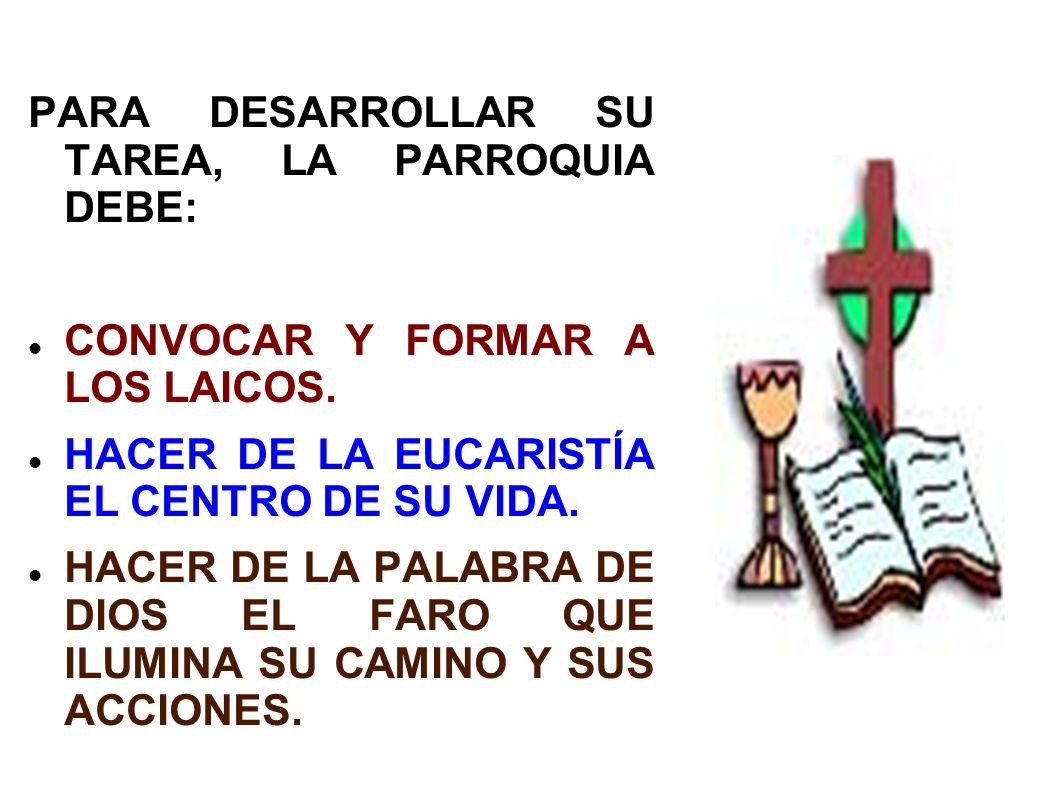 PARA DESARROLLAR SU TAREA, LA PARROQUIA DEBE: CONVOCAR Y FORMAR A LOS LAICOS. HACER DE LA EUCARISTÍA EL CENTRO DE SU VIDA. HACER DE LA PALABRA DE DIOS