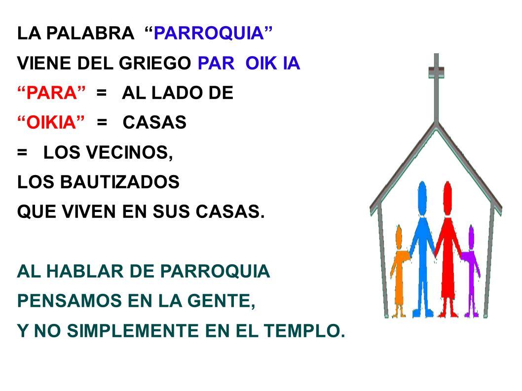 LA PALABRA PARROQUIA VIENE DEL GRIEGO PAR OIK IA PARA = AL LADO DE OIKIA = CASAS = LOS VECINOS, LOS BAUTIZADOS QUE VIVEN EN SUS CASAS. AL HABLAR DE PA
