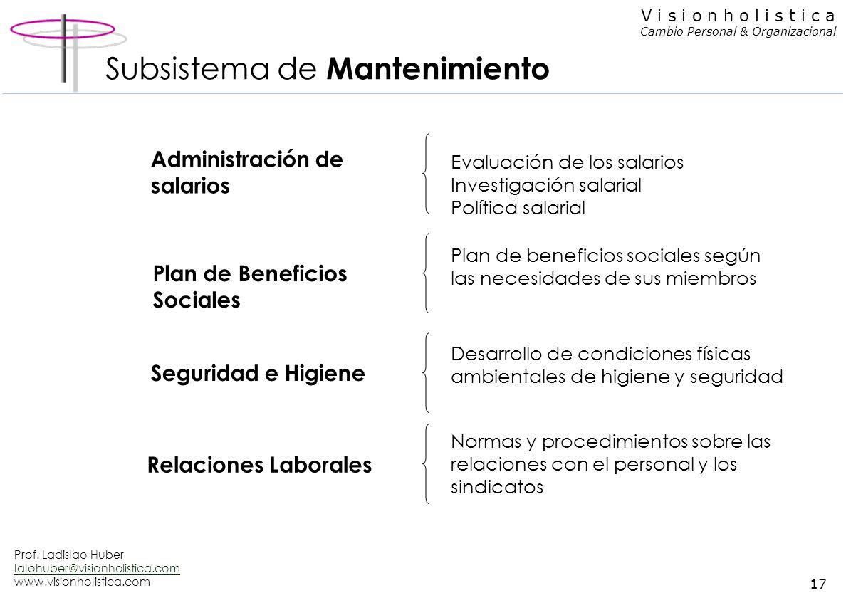 Prof. Ladislao Huber lalohuber@visionholistica.com www.visionholistica.com 16 V i s i o n h o l i s t i c a Cambio Personal & Organizacional Subsistem