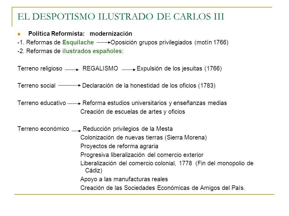 EL DESPOTISMO ILUSTRADO DE CARLOS III Política Reformista: modernización -1. Reformas de Esquilache Oposición grupos privilegiados (motín 1766) -2. Re