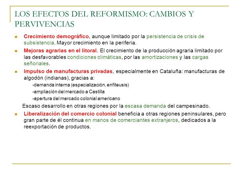 LOS EFECTOS DEL REFORMISMO: CAMBIOS Y PERVIVENCIAS Crecimiento demográfico, aunque limitado por la persistencia de crisis de subsistencia. Mayor creci
