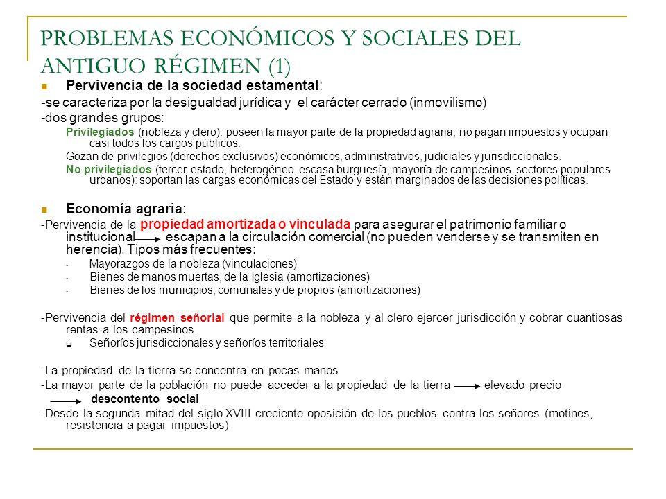 PROBLEMAS ECONÓMICOS Y SOCIALES DEL ANTIGUO RÉGIMEN (2) - Variedad de situaciones entre los campesinos y desigual reparto de la tierra y de las rentas agrarias: Pequeños propietarios predominan en el norte (minifundios) falta de capital Arrendatarios: contratos enfitéuticos (a perpetuidad) sobre todo en Cataluña; contratos a medio plazo y subarriendos (foros y subforos) en Galicia y Asturias; contratos a corto plazo en los latifundios del sur.