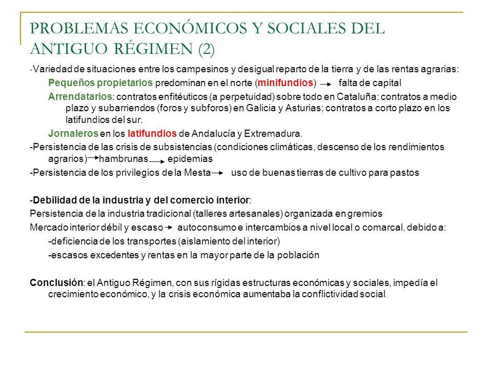 PROBLEMAS ECONÓMICOS Y SOCIALES DEL ANTIGUO RÉGIMEN (2) - Variedad de situaciones entre los campesinos y desigual reparto de la tierra y de las rentas