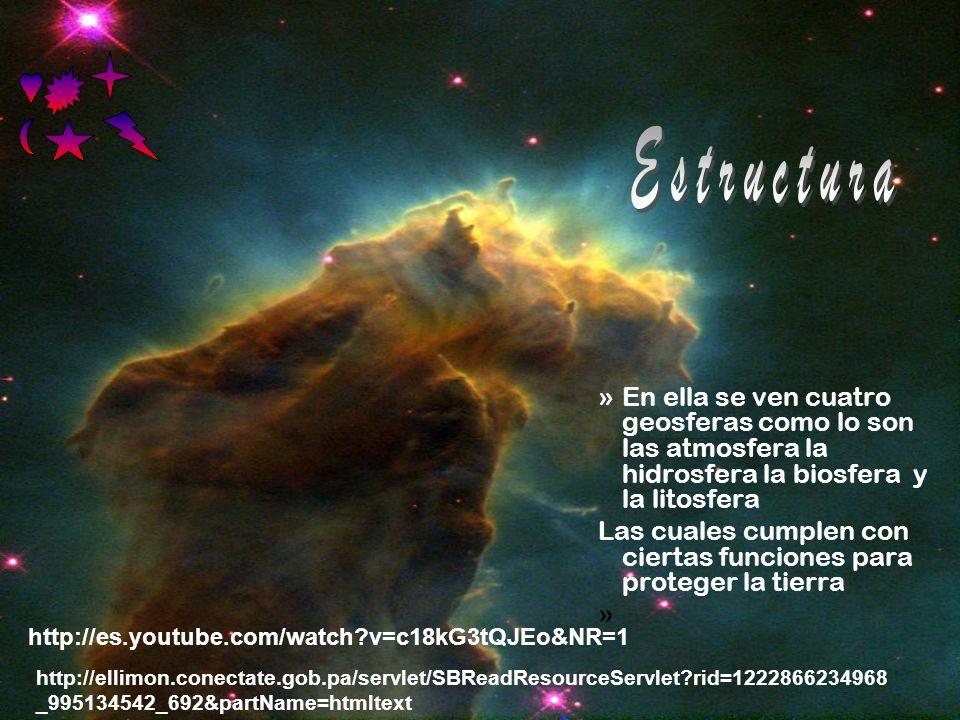 »En ella se ven cuatro geosferas como lo son las atmosfera la hidrosfera la biosfera y la litosfera Las cuales cumplen con ciertas funciones para proteger la tierra » http://es.youtube.com/watch v=c18kG3tQJEo&NR=1 http://ellimon.conectate.gob.pa/servlet/SBReadResourceServlet rid=1222866234968 _995134542_692&partName=htmltext