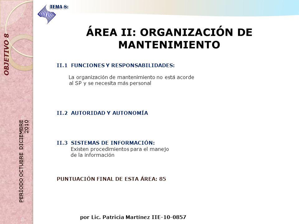 por Lic. Patricia Martínez IIE-10-0857 OBJETIVO 8 TEMA 8: ÁREA II: ORGANIZACIÓN DE MANTENIMIENTO II.1 FUNCIONES Y RESPONSABILIDADES: La organización d