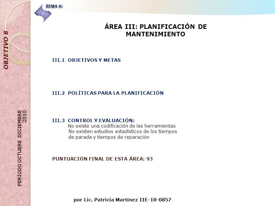 por Lic. Patricia Martínez IIE-10-0857 OBJETIVO 8 TEMA 8: ÁREA III: PLANIFICACIÓN DE MANTENIMIENTO III.1 OBJETIVOS Y METAS III.2 POLÍTICAS PARA LA PLA