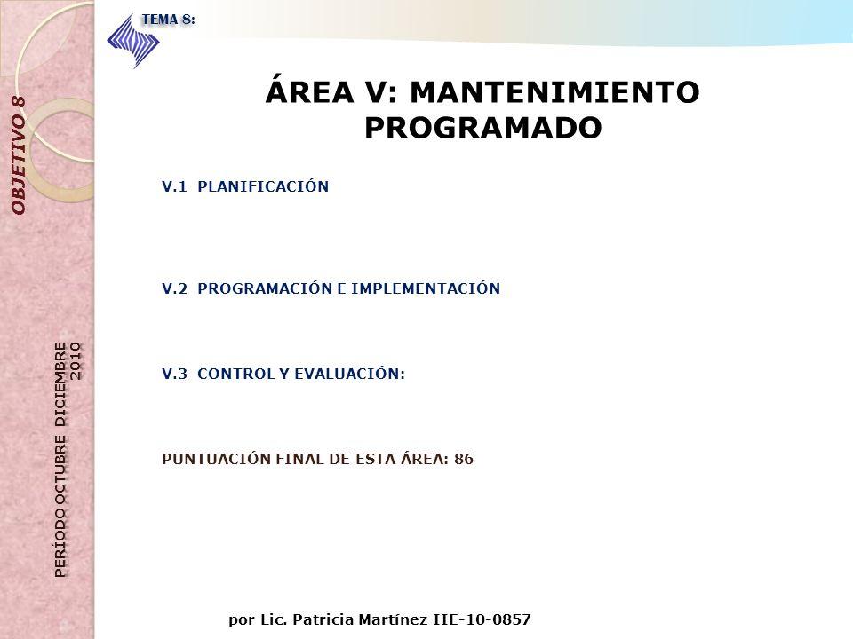 por Lic. Patricia Martínez IIE-10-0857 OBJETIVO 8 TEMA 8: ÁREA V: MANTENIMIENTO PROGRAMADO V.1 PLANIFICACIÓN V.2 PROGRAMACIÓN E IMPLEMENTACIÓN V.3 CON