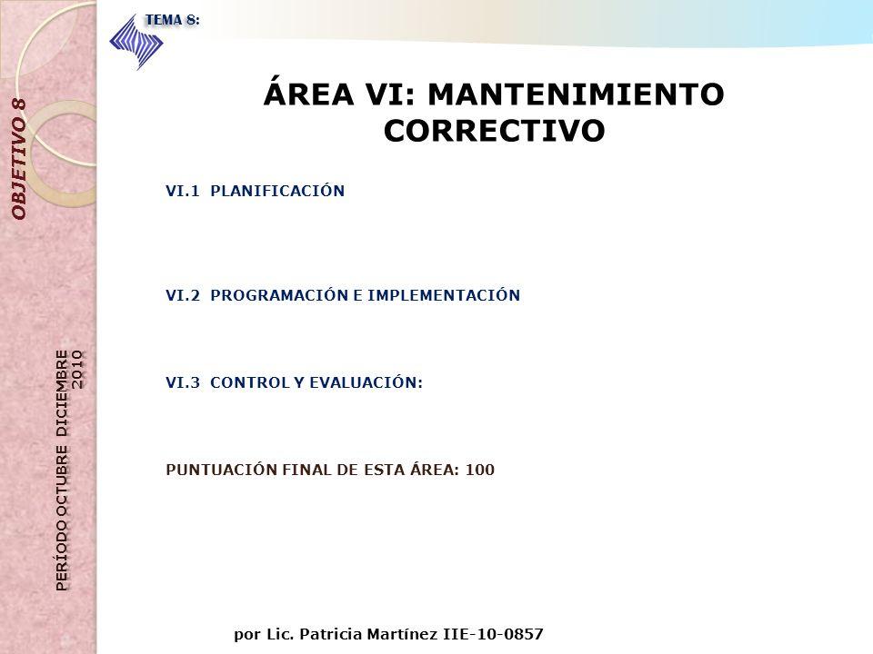 por Lic. Patricia Martínez IIE-10-0857 OBJETIVO 8 TEMA 8: ÁREA VI: MANTENIMIENTO CORRECTIVO VI.1 PLANIFICACIÓN VI.2 PROGRAMACIÓN E IMPLEMENTACIÓN VI.3