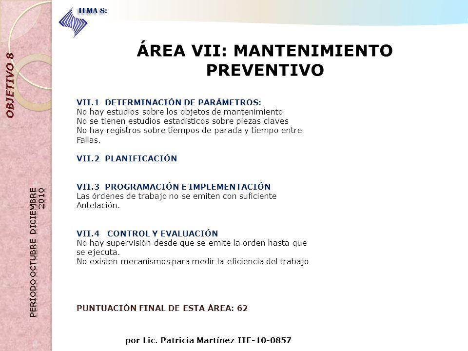 por Lic. Patricia Martínez IIE-10-0857 OBJETIVO 8 TEMA 8: ÁREA VII: MANTENIMIENTO PREVENTIVO VII.1 DETERMINACIÓN DE PARÁMETROS: No hay estudios sobre