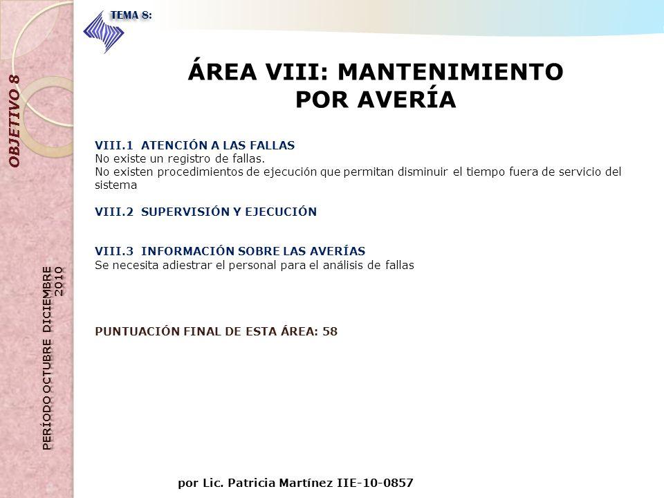 por Lic. Patricia Martínez IIE-10-0857 OBJETIVO 8 TEMA 8: ÁREA VIII: MANTENIMIENTO POR AVERÍA VIII.1 ATENCIÓN A LAS FALLAS No existe un registro de fa