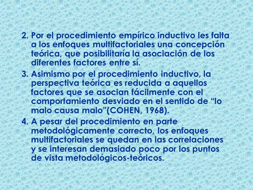 2. Por el procedimiento empírico inductivo les falta a los enfoques multifactoriales una concepción teórica, que posibilitaría la asociación de los di