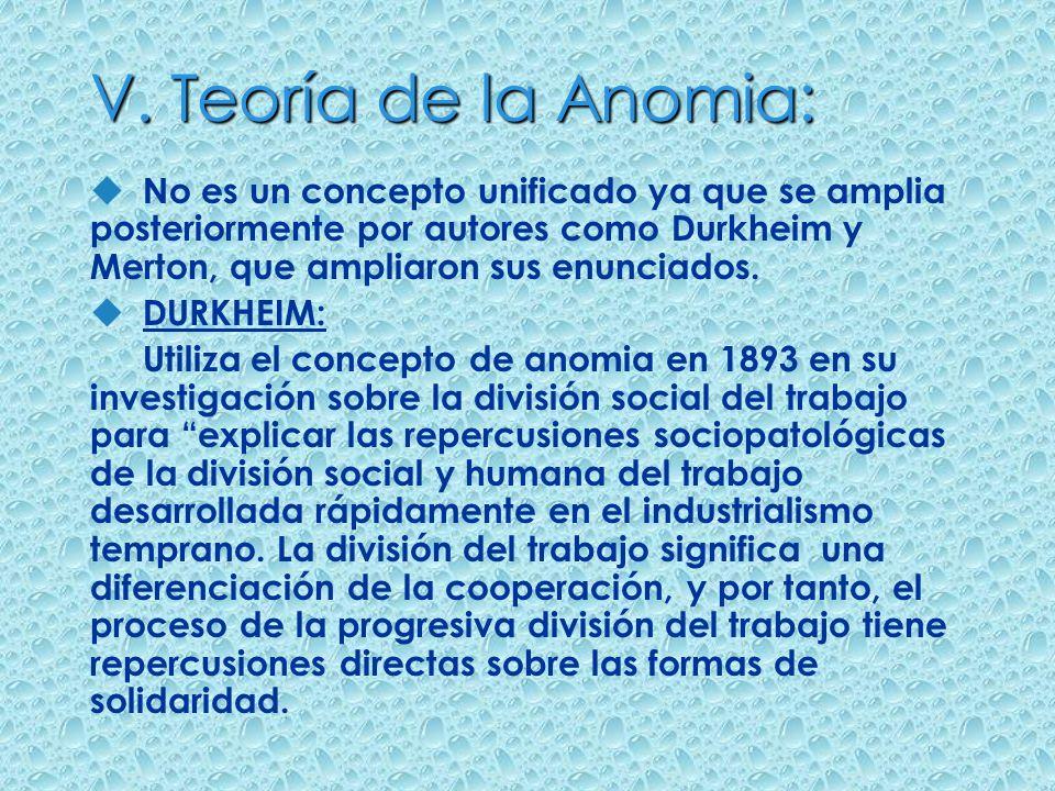 V. Teoría de la Anomia: u No es un concepto unificado ya que se amplia posteriormente por autores como Durkheim y Merton, que ampliaron sus enunciados