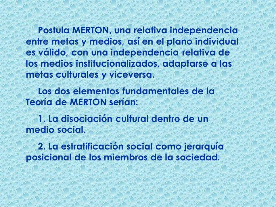 Postula MERTON, una relativa independencia entre metas y medios, así en el plano individual es válido, con una independencia relativa de los medios in