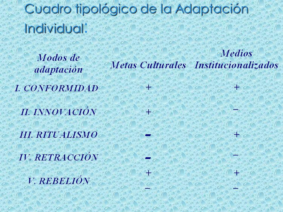 Cuadro tipológico de la Adaptación Individual Cuadro tipológico de la Adaptación Individual :