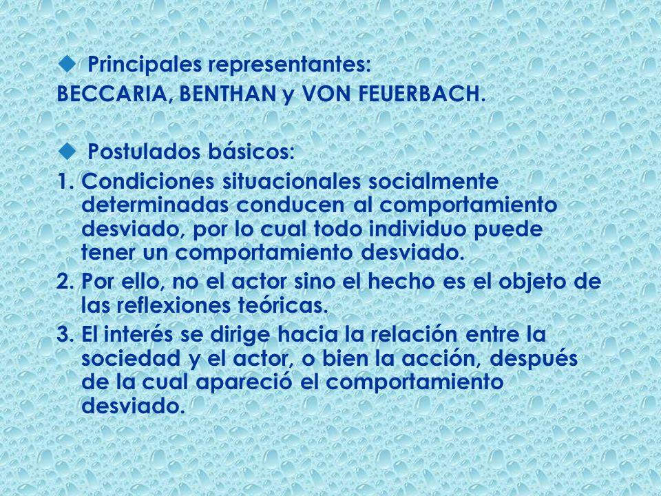 u Principales representantes: BECCARIA, BENTHAN y VON FEUERBACH. u Postulados básicos: 1. Condiciones situacionales socialmente determinadas conducen