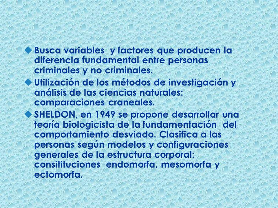 u Busca variables y factores que producen la diferencia fundamental entre personas criminales y no criminales. u Utilización de los métodos de investi