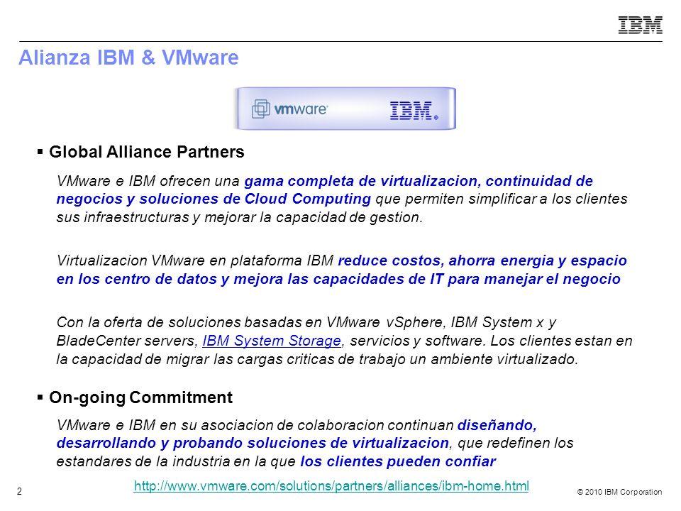 © 2010 IBM Corporation 2 Alianza IBM & VMware Global Alliance Partners On-going Commitment VMware e IBM ofrecen una gama completa de virtualizacion, c